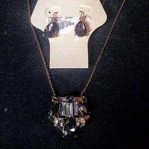 New on card Cato smokey quartz necklace with earri